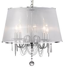 searchlight 1485 5cc venetian chrome 5 light fitting with white viole shade chain link