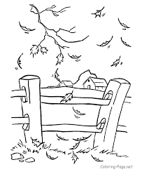 Small Picture Line drawing of Fall leaves fence and farm in background good