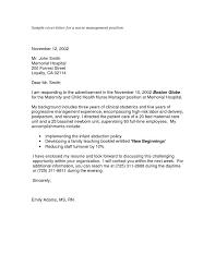 Cover Letter Examples Nursing Management Eursto Com