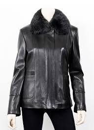 womens fur collar black leather jacket