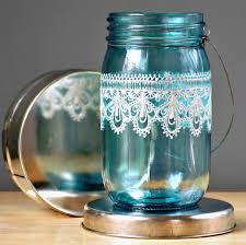 hand painted mason jar lanterne marocaine océan verre par litdecor
