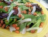 baby greens and garlicky white bean salad