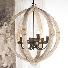 distressed white wood globe chandelier