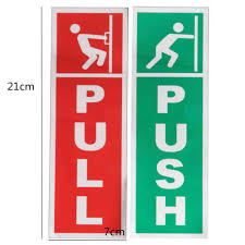 business signs 2 green push and red
