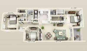 3 bedroom apartments plan. Cool 3 Bedroom 3d Plans Apartments Plan