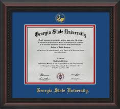 state university custom diploma frames and displays  image of state university diploma frame mahogany braid w embossed gsu seal