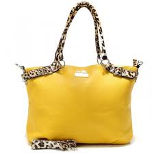 Coach Madison Leopard Large Yellow Satchels ACI