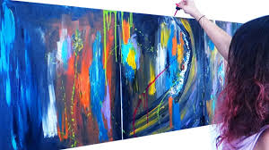 abstract acrylic painting demo on large canvas part 01 02