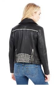 womens jackets true religion embellished leather moto
