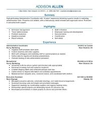 Education Coordinator Resumes Unforgettable Administrative Coordinator Resume Examples To