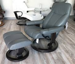 stressless consul recliner chair and ottoman batick grey leather by ekornes