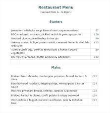 Free Catering Menu Templates For Microsoft Word Bbq Restaurant Menu Template Free Chanceinc Co