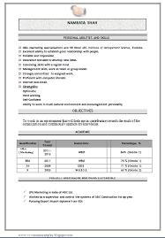 Sample Resume Format For Mba Finance Freshers Sample Resume For Mba