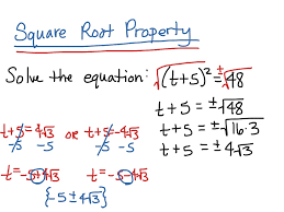 solving quadratic equations using the square root property math showme