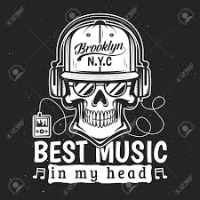 Skeleton Design T Shirt Skull In Headphones Listening To Music Vector T Shirt Print