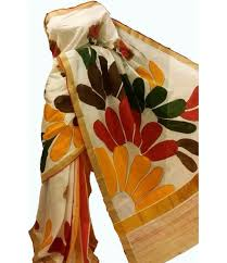 off white handpainted kerala cotton saree