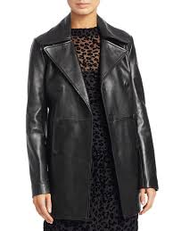rag bone nella leather wide lapel peacoat black women s