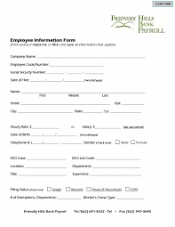 Form For Employee 47 Printable Employee Information Forms Personnel