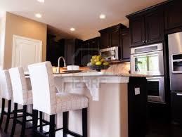Kitchen Design Dark Cabinets Wood Kitchen Design Ideas With Dark Cabinets And White Chairs