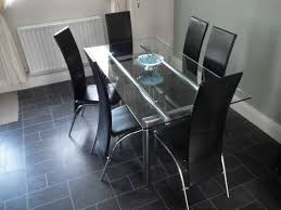glass chrome dining set 6 seater