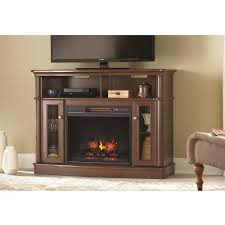 home decorators collection tolleson 48 in media console infrared bow front electric fireplace in mocha