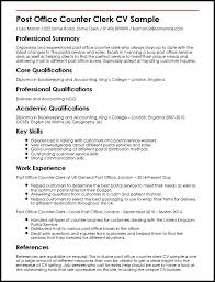 Post Office Counter Clerk CV Sample