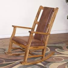 wood rocking chairs with leather seats on