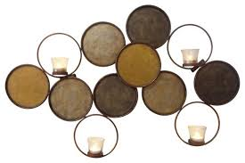 gold bronze modern circles wall sconce