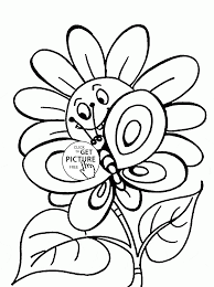 Small Picture Cute Spring Flower And Butterfly Vintage Coloring Pages Flowers