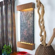 water wonders large nojoqui falls lightweight slate wall fountain in copper patina trim wwlvs cp the home depot