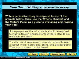 persuasive essay introduction a writer s checklist choosing an your turn writing a persuasive essay