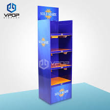 5 tiers cardboard display shelves supermarket blue retail display shelves