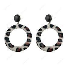 big round circle leopard leather earrings dangle women jewelry gift white