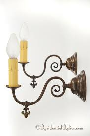 pair brass wall sconces gas converted to electric circa 1900s