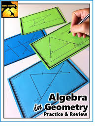 algebra in geometry task cards solving to find missing angle measures
