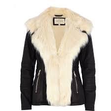river island black faux fur collar leatherlook jacket in lyst waterfall