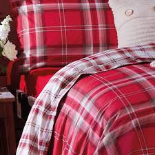 catherine lansfield home kelso reversible tartan check duvet cover set red single