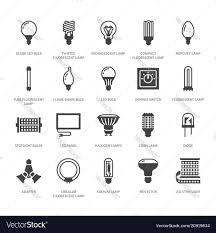 Kinds Of Led Light Bulbs Light Bulbs Flat Glyph Icons Led Lamps Types
