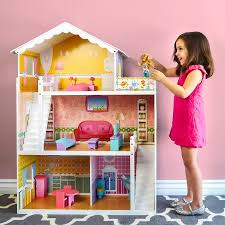 barbie doll. Best Choice Products Large Childrens Wooden Dollhouse Fits Barbie Doll House Pink W/ 17 Pieces