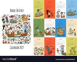 Travel Calendar Travel To Italy Calendar 2019 Design Royalty Free Vector