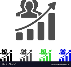 Growth Chart Stencil Designs Audience Growth Chart Flat Icon