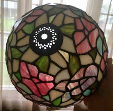 vintage leaded slag glass lamp shade pink purple green white fitter rim 2 1 1 of 8 see more