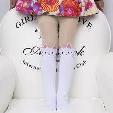 Us 219 30 Offsummer Childrens Baby Kids Girls Thin Tights Knee Fake Tattoo Velvet Stocking White Cartoon Kitty Cat 3 8y New 2017 Pantyhose In