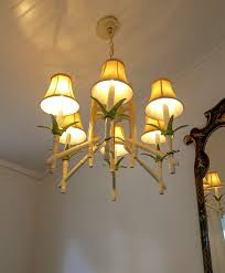 vintage chinoiserie faux bamboo tole chandelier
