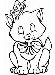 Kleurplaat Leuke Kitten Kleurplaat Met Strik En Vlinder
