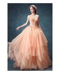 peach wedding dress. Peach Ball gown High Neck Floor length Tulle Wedding Dress With