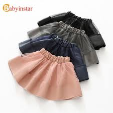 babyinstar girls pu leather skirts with mesh patchwork children s skirt 2019 new autumn baby outwear fashion style kids skirts