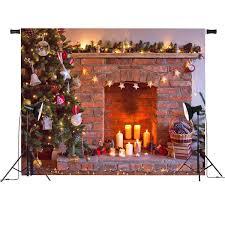 7x5ft vinyl retro tree fireplace photography background backdrop props studio