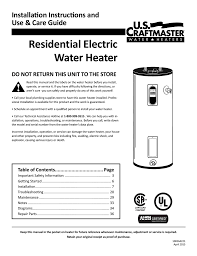 Us Craftmaster Water Heater Age Chart Us Craftmaster Es2h50rd045v Use Care Guide Manualzz Com