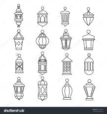 Ramadan Vintage Lantern Linear Icons Vector Muslim Antique Lamp